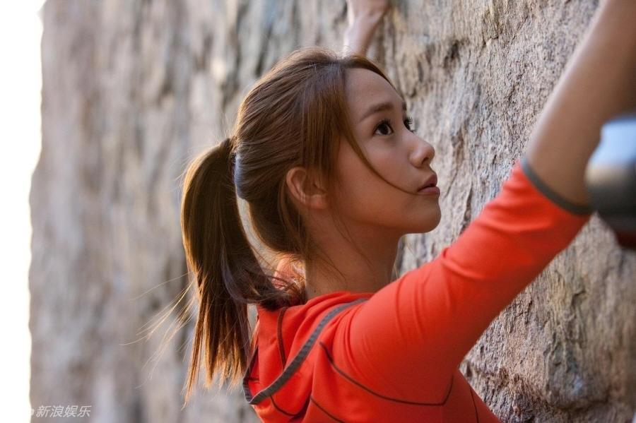 高清组图:李敏镐携手少女时代允儿攀岩拍广告
