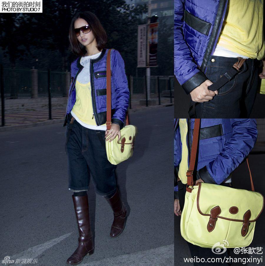 张歆艺宝蓝色小棉衣+背带牛仔短裤搭配高筒靴