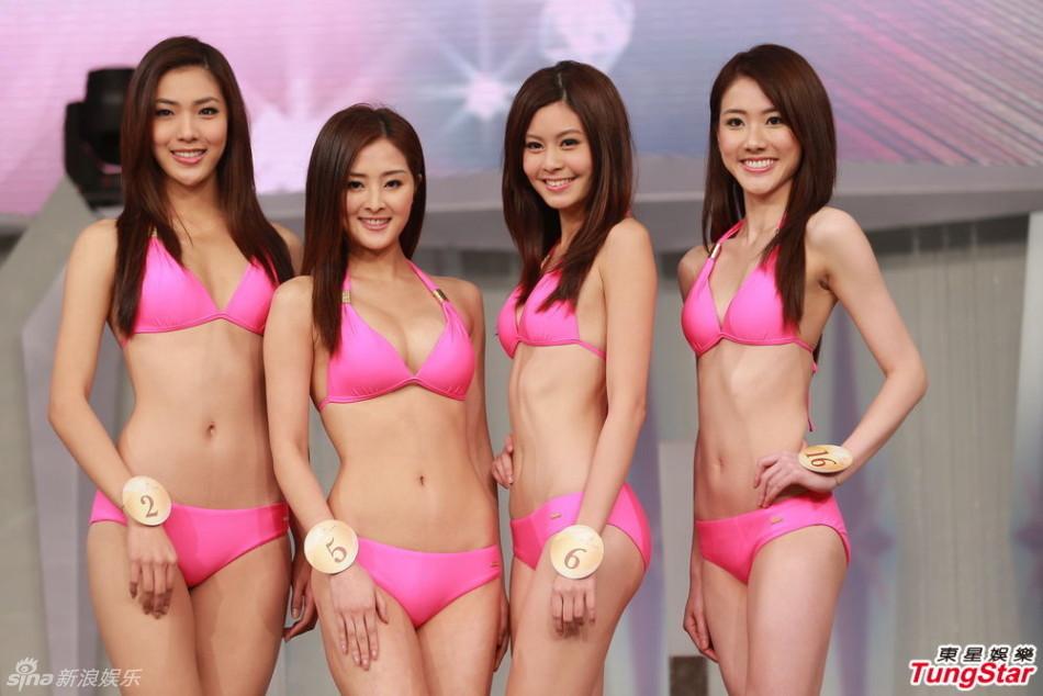 美女露音毛图片_华姐候选粉红色泳装彩排露毛露疤