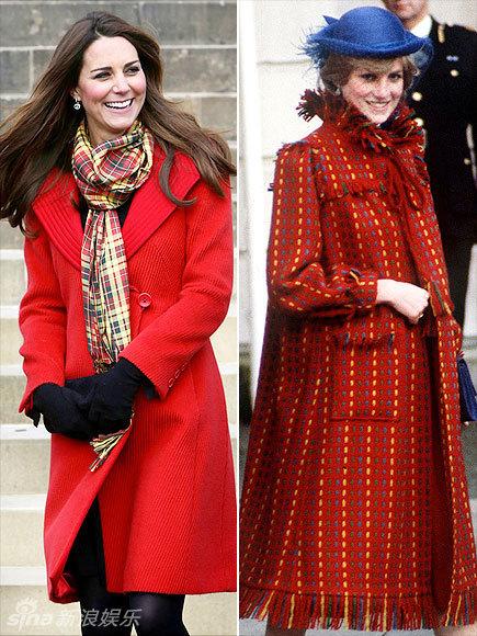 组图 凯特王妃与戴安娜孕期服装大比拼