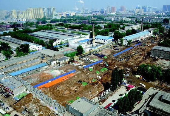 道路规划红线范围内约600米左右的厂区拆迁工作已基本完成,太原图片