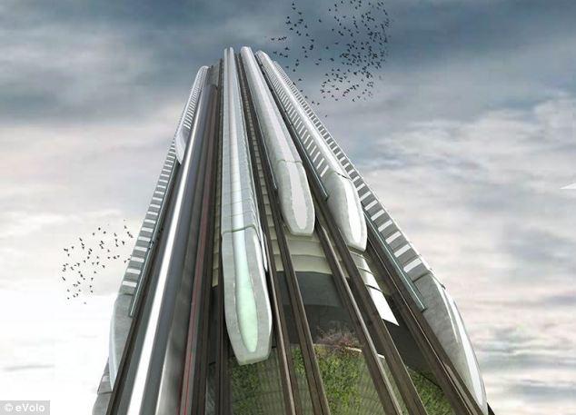 创意垂直车站让列车爬高楼:似摩天轮旋转