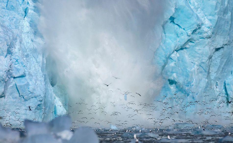 挪威冰川崩塌瞬间万鸟从冰洞飞出