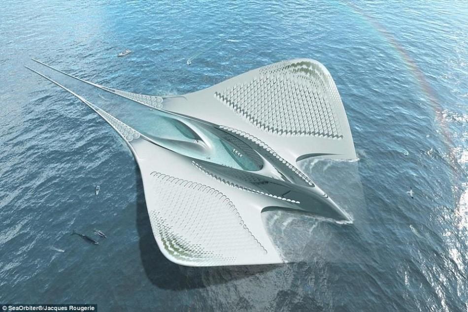 未来派魔鬼鱼漂浮城市:可住7000人不产生垃圾