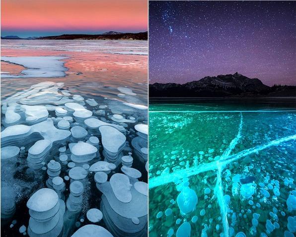 加亚伯拉罕湖冰封气泡 极光下绚丽多彩