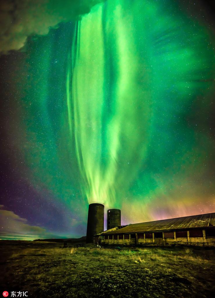 """冰岛北极光喷涌炸裂:似《魔戒》""""索伦之眼"""""""