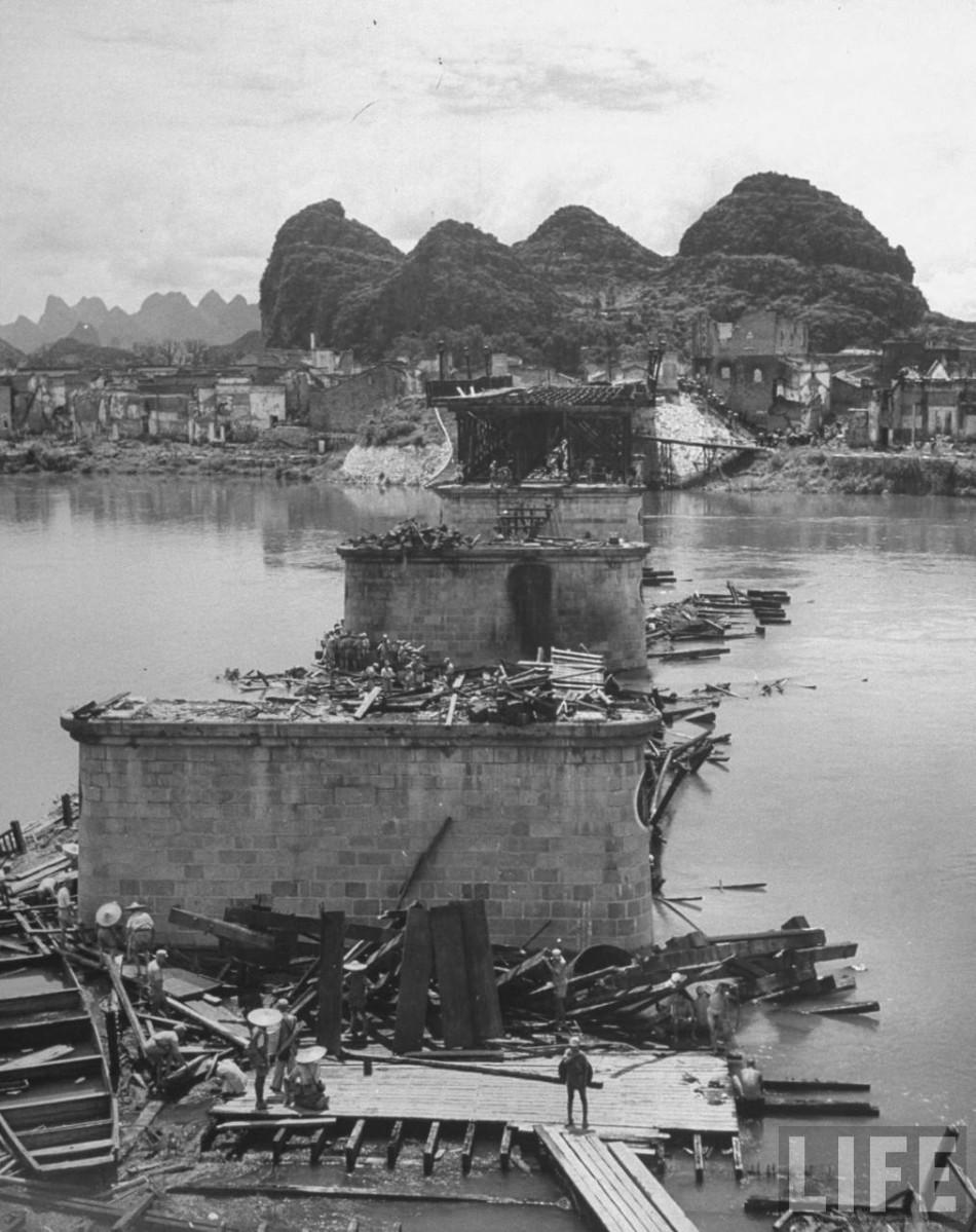 珍贵影像资料:抗战后被炸成废墟的桂林