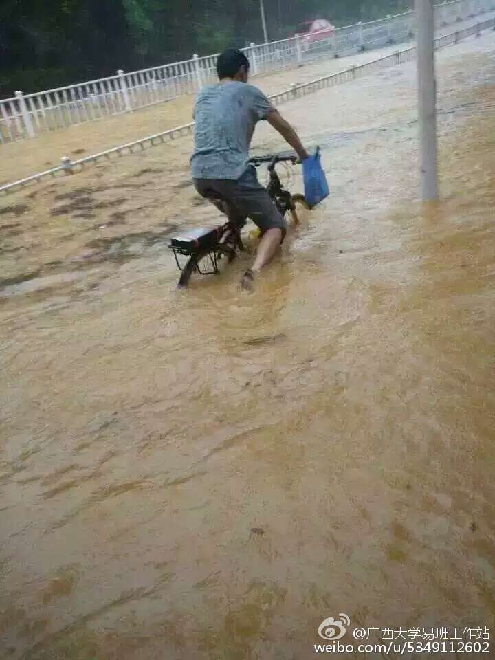 崇左桥真的变桥了……暴雨来袭,广西大学多处地点已经失守,积水过