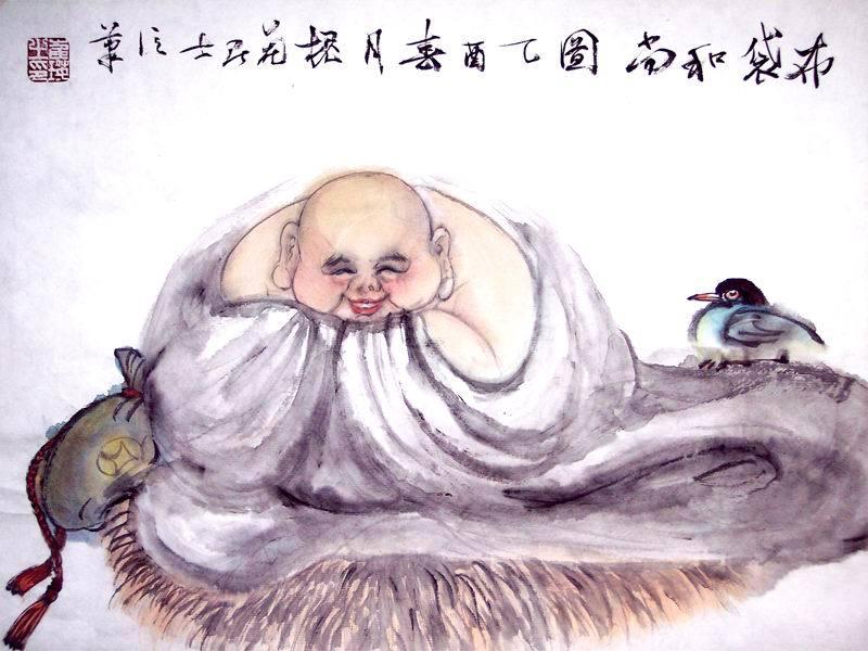 画春天布卡纸拼贴画-五代后梁时期之僧人,明州奉化(今浙江宁波奉化)人.因常背负一只