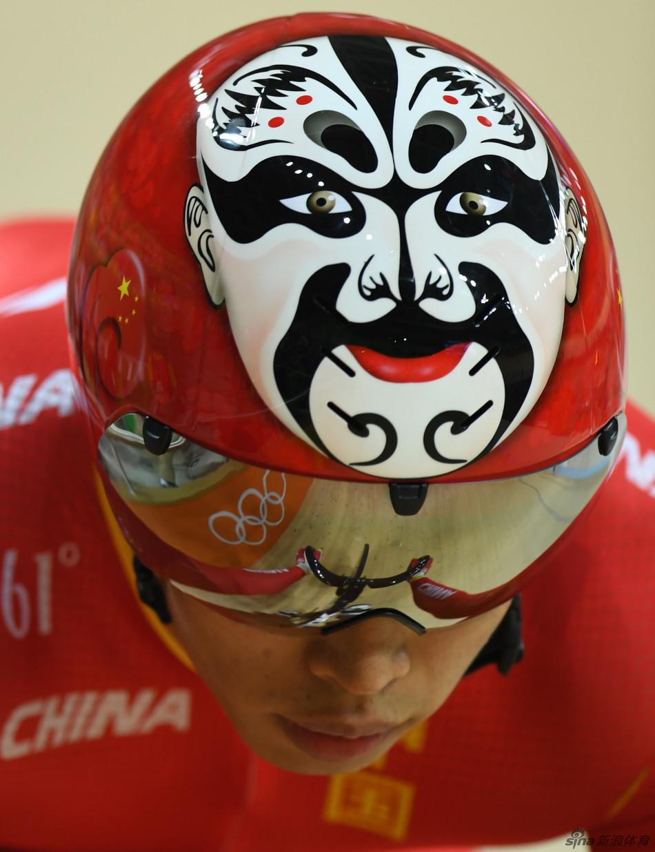 [转载]里约奥运会场地自行车中国运动员的头盔顶部的京剧脸谱图案图片