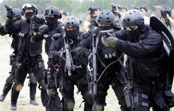 韩国特警部队反恐演练展示硬功夫图片