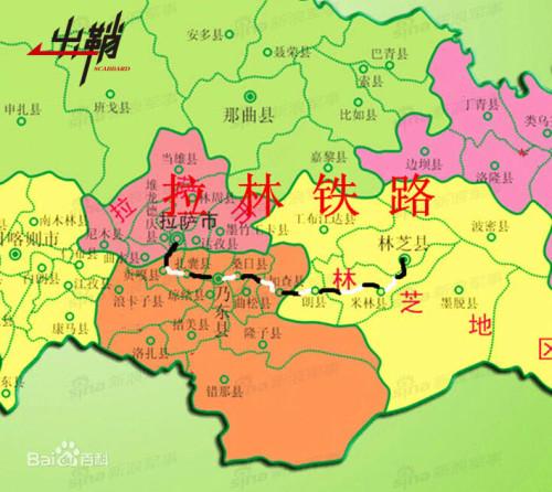 西藏铁路规划地图:拉日铁路至喀什