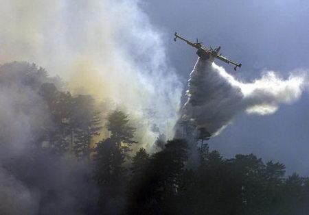 图文:灭火飞机进行救援