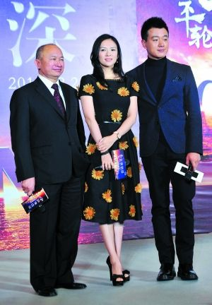 吴宇森、章子怡、佟大为到广州宣传《太平轮》。