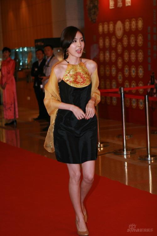 组图:简美妍出席慈善晚宴肚兜裙装显优雅娇媚
