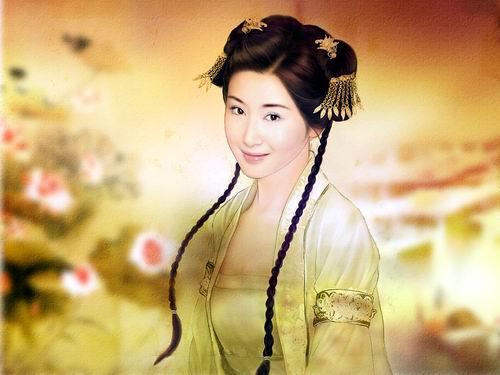 杨玉环图片 手绘
