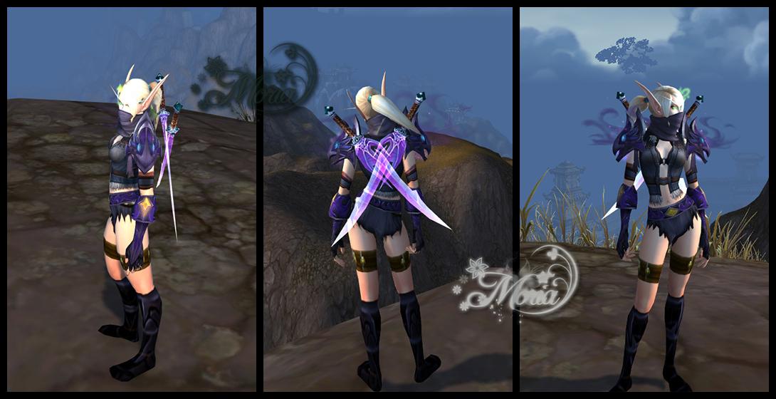 魔兽血精灵皮甲:暗紫色系 双持虚灵刀桃心幻化