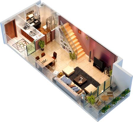 汇金新地本月将推50-100平米精装公寓,其中100平米户型为复式酒店式图片