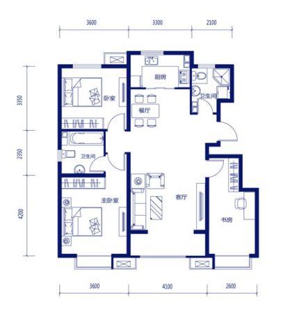 图为项目120平米3室2厅2卫户型图