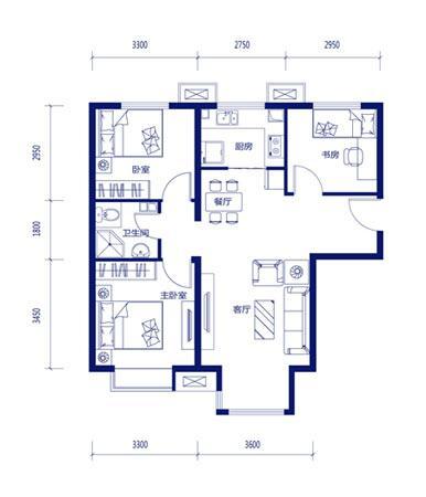 图为项目90平米3室2厅1卫户型图