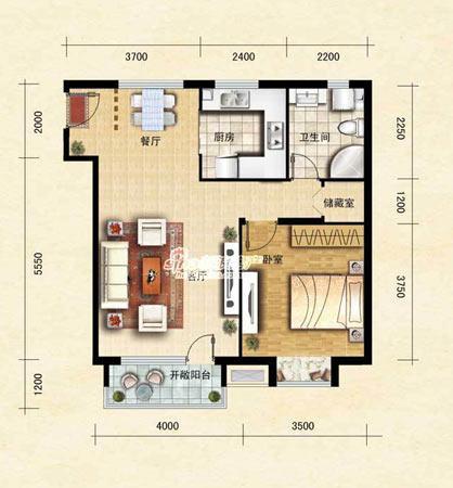 图为项目71平米一室二厅一卫户型