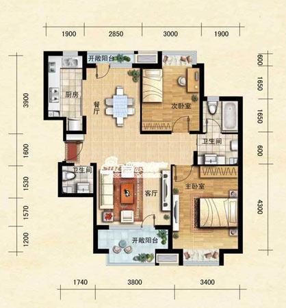 图为项目89平米二室二厅二卫户型图