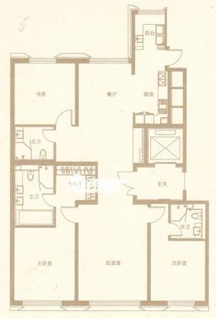 图为金茂府217.49平米三居户型图