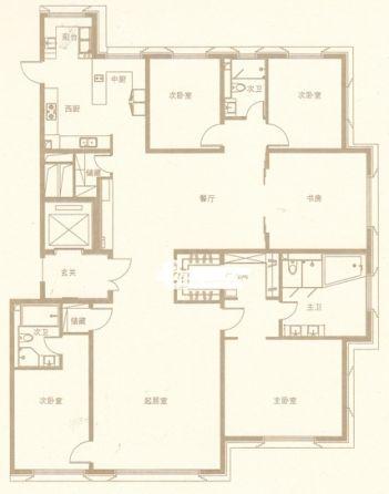 图为金茂府五居二室三厅户型图