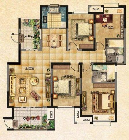 f2户型四室二厅二卫143.89平米