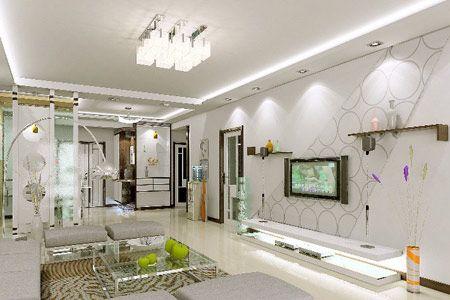 简约电视背景墙 看经典客厅装修(3)