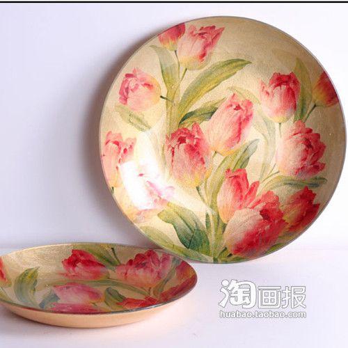盛开郁金香小号圆形玻璃果盘贴金箔水果盘子餐饮用具