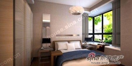 从样板间图片可以看到红木林卧室的窗户为落地转角大窗,视角广阔,观景