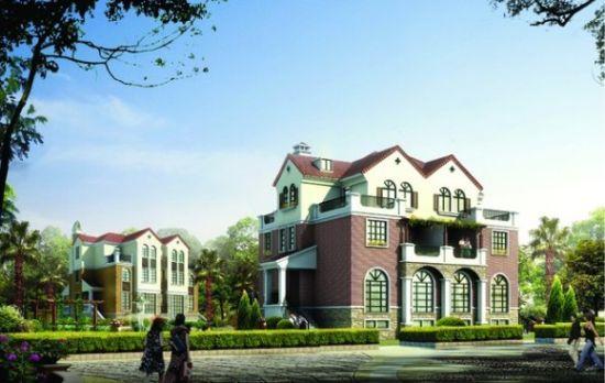 小区建筑外立面选用具有浓郁欧式风格的质感涂料和文化石结合的装饰效