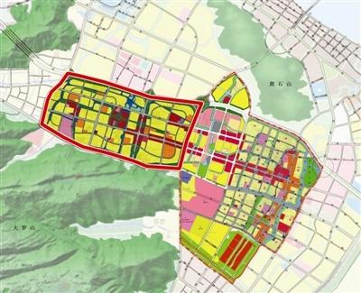 龙湾城市中心用地规划图,其中红线内为瑶溪南片区