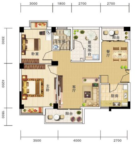 三室两厅两卫一厨一个阳台的平面图