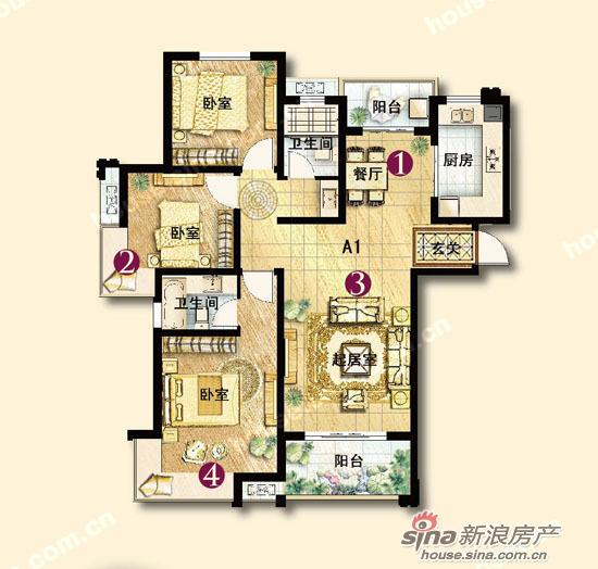图为保利香槟国际a1户型三室两厅两卫一厨132平米户型图