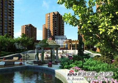 欧式建筑群落外,中天富城还首创了意大利台地景观设计,小区的跌水景观