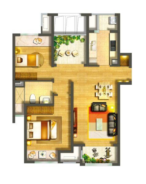 楼盘档案:面积(90平米)户型(三室两厅一卫)均价(8500元/平方米)