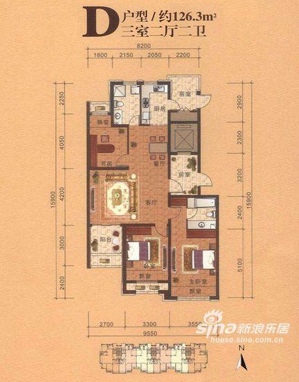 图为青鸟中山华府D户型,三室两厅两卫,约126.3平米
