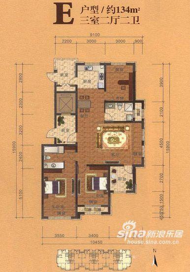 图为E户型,三室两厅两卫,约134平米