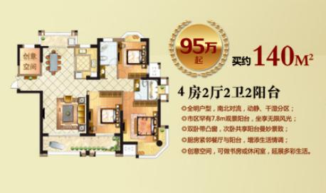 95万起4房2厅2卫2阳台