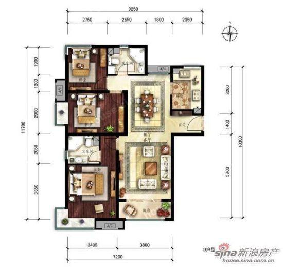 图为中建国际港 户型图 d户型三室二厅二卫 122平方米