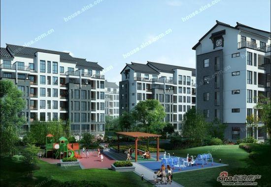 建筑面积约30万平方米,可供2000多户家庭居住,社区的外立面为现代中式