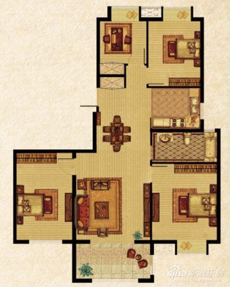120平方四房两厅三层设计图