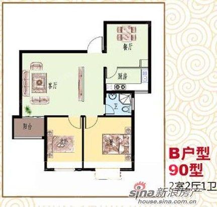 两居室户型图-胜中尚东水润90O两居室临水而居