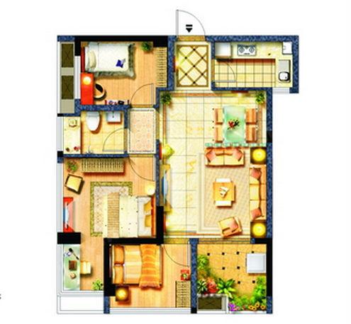 但功能齐全户型紧凑,面积在80到100平米的三房户型.