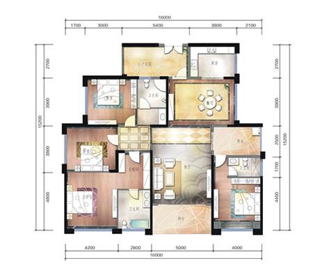 星隆国际广场110平米2房户型