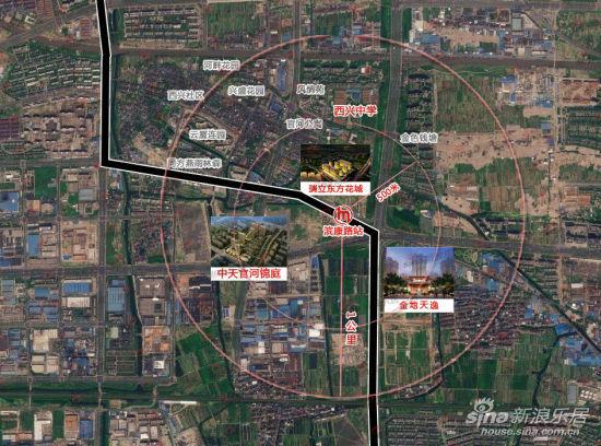滨康路站卫星俯视图 制图/刘郁文-地铁1号线开通倒计时 滨康路站实地