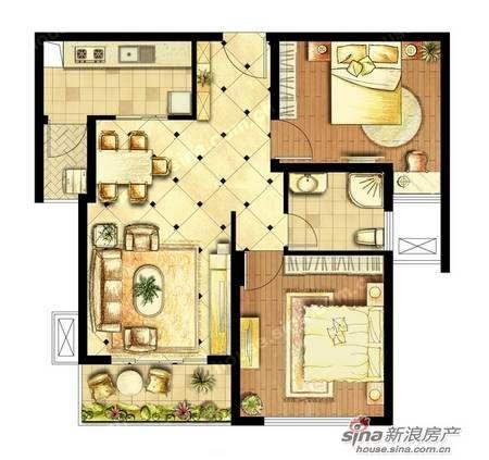 沧浪区杨枝塘路城湾地区158号    刚需户型:高层公寓83平米,两室一厅