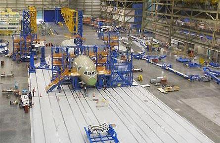 波音公司开始第一架波音787飞机的总装